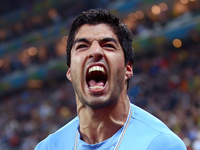 SAO PAULO, BRAZIL - JUNE 19: Luis Suarez of Uruguay celebrates scoring his team's second goal during the 2014 FIFA World Cup Brazil Group D match between Uruguay and England at Arena de Sao Paulo on June 19, 2014 in Sao Paulo, Brazil. (Photo by Julian Finney/Getty Images)
